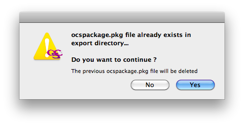 Mac OSX packager export package already exists warn