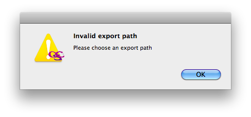 Mac OSX packager export path warn