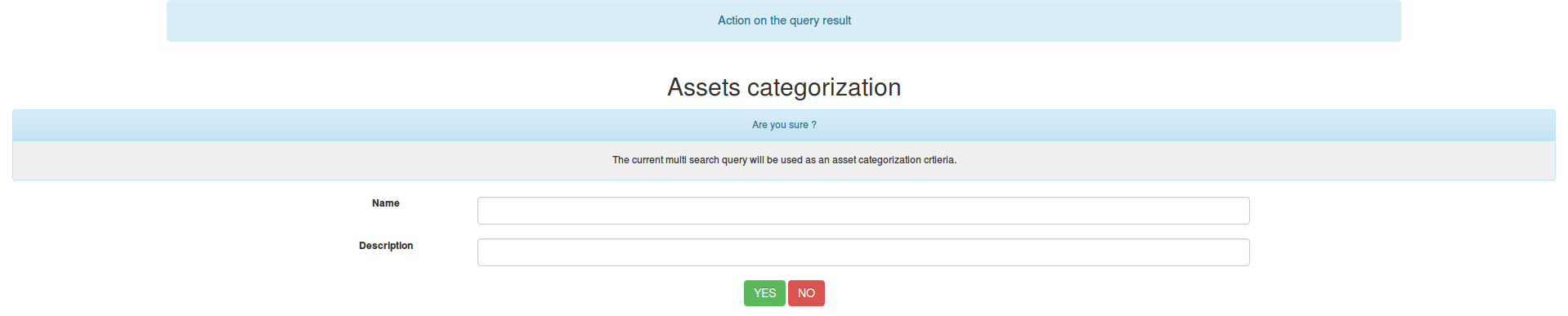 Assets categories form