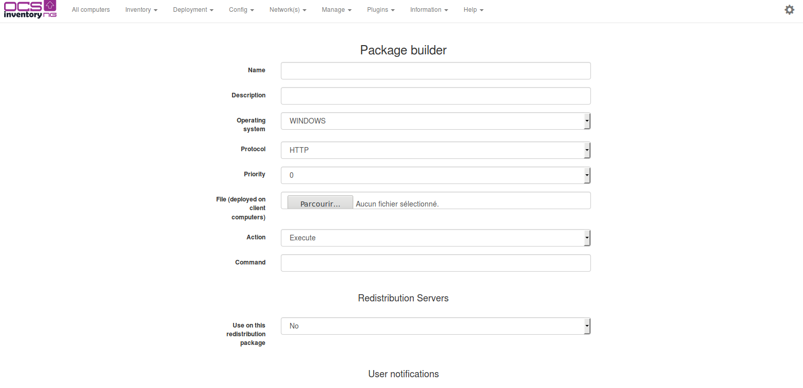Package builder page empty