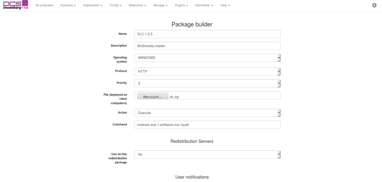 Package builder page execute