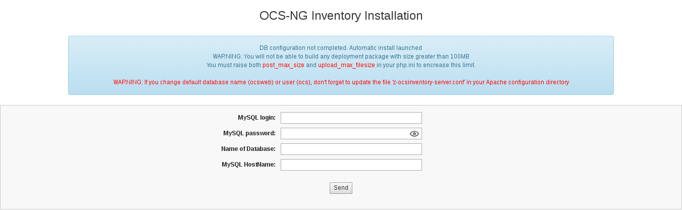 Installation's page of ocsreports